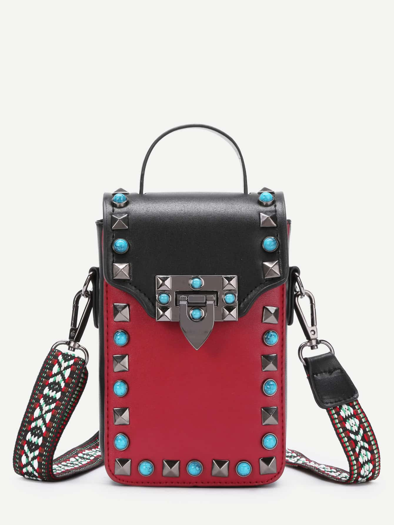 Turquoise & Studded Decorated PU Bag