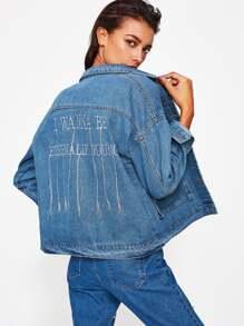 Veste en jeans brodé alphabet au dos avec la chute de l\'épaule
