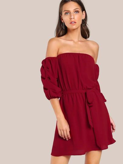 Self Tie Gathered Sleeve Bardot Dress