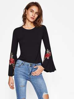 Flower Patch Split Bell Sleeve Tee