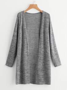 Heather Knit Slit Side Longline Cardigan