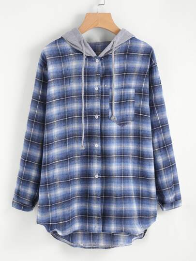 Hooded Checked Dip Hem Shirt