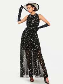 Polka Dot Chiffon Dress With Belt