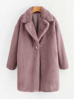 Single Button Faux Fur Longline Coat