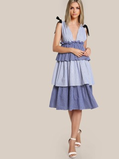 Self Tie Shoulder Low Side Tiered Pinstripe Dress