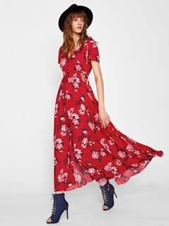 Tasseled Tie Smocked Waist Floral Dress