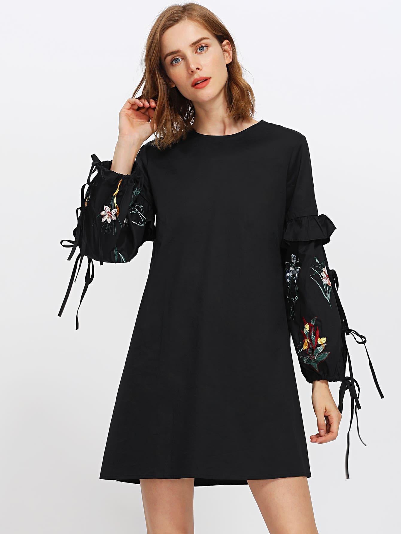 Frill Trim Embroidered Lantern Sleeve Dress lantern sleeve ruffle trim pinstripe dress