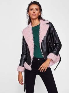 Faux Fur Lined Belted Hem Biker Jacket