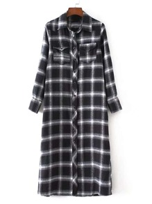 Button Up Checked Shirt Dress