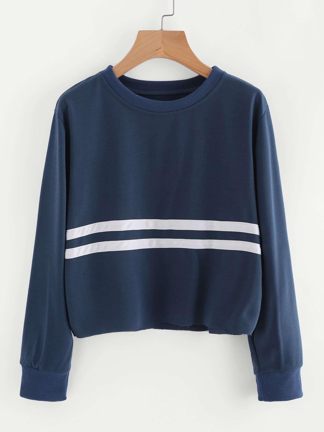 Striped Trim Sweatshirt eyki 8752