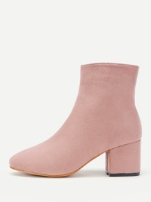 Side Zipper Chunky Heeled Ankle Boots