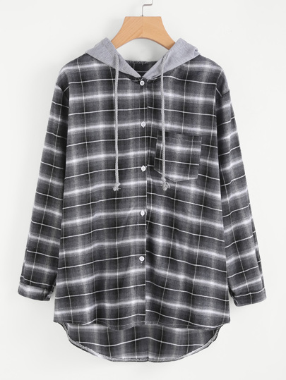 Hooded Drawstring Checked Dip Hem Blouse