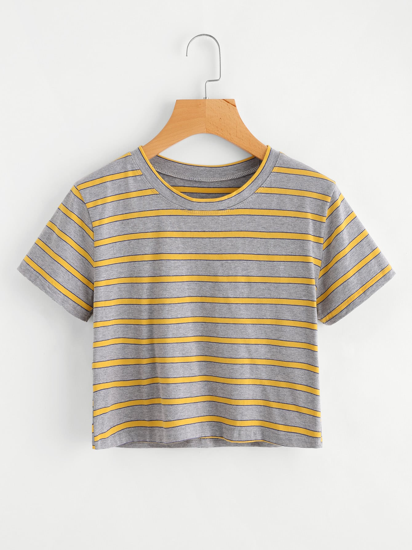 Contrast Striped Crop Tee contrast striped trim camo print tee