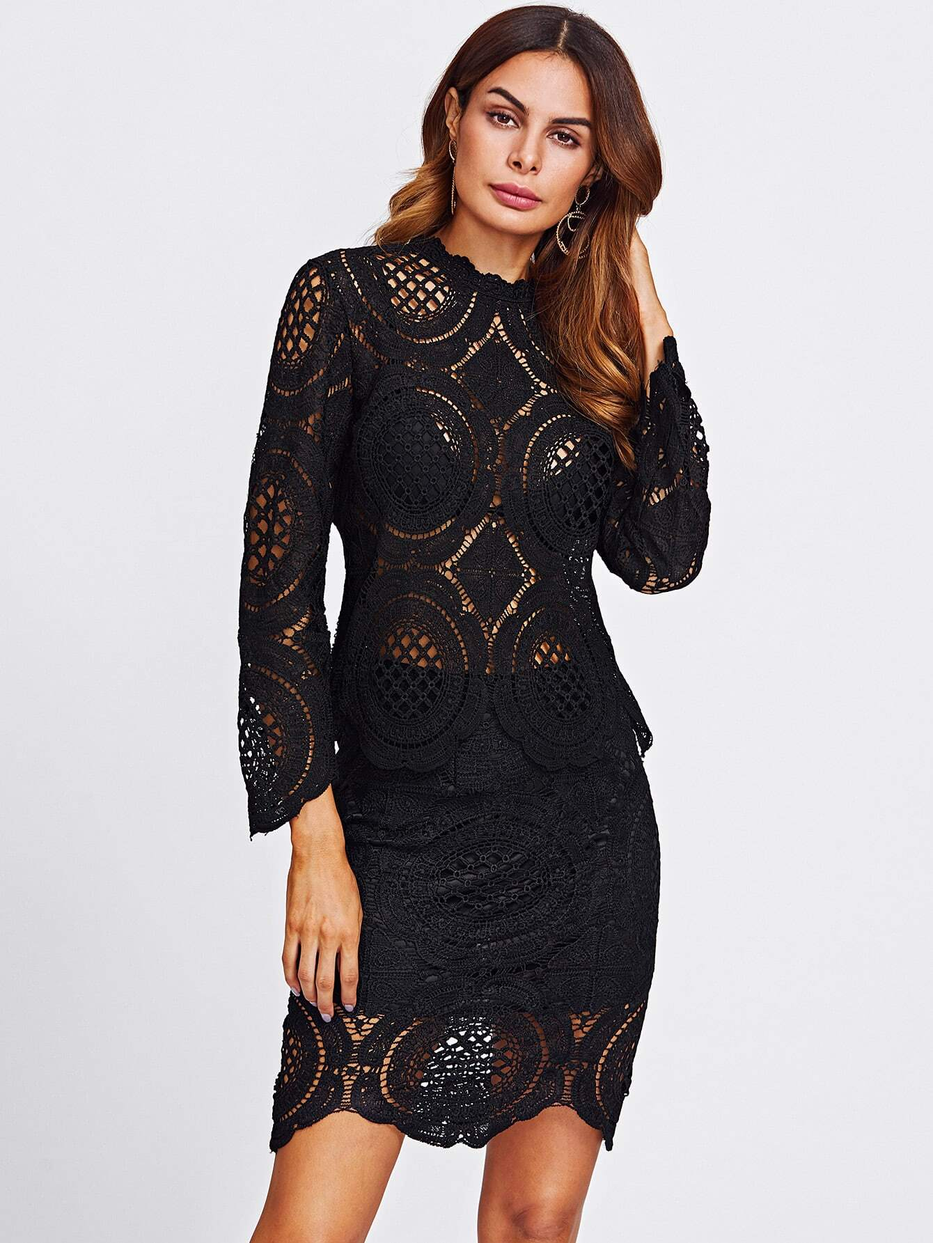 Crochet Lace Hollow Out Top And Skirt