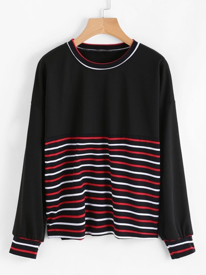 Contrast Stripe Trim Drop Shoulder Sweatshirt