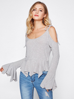 Tied Open Shoulder Hanky Hem Top