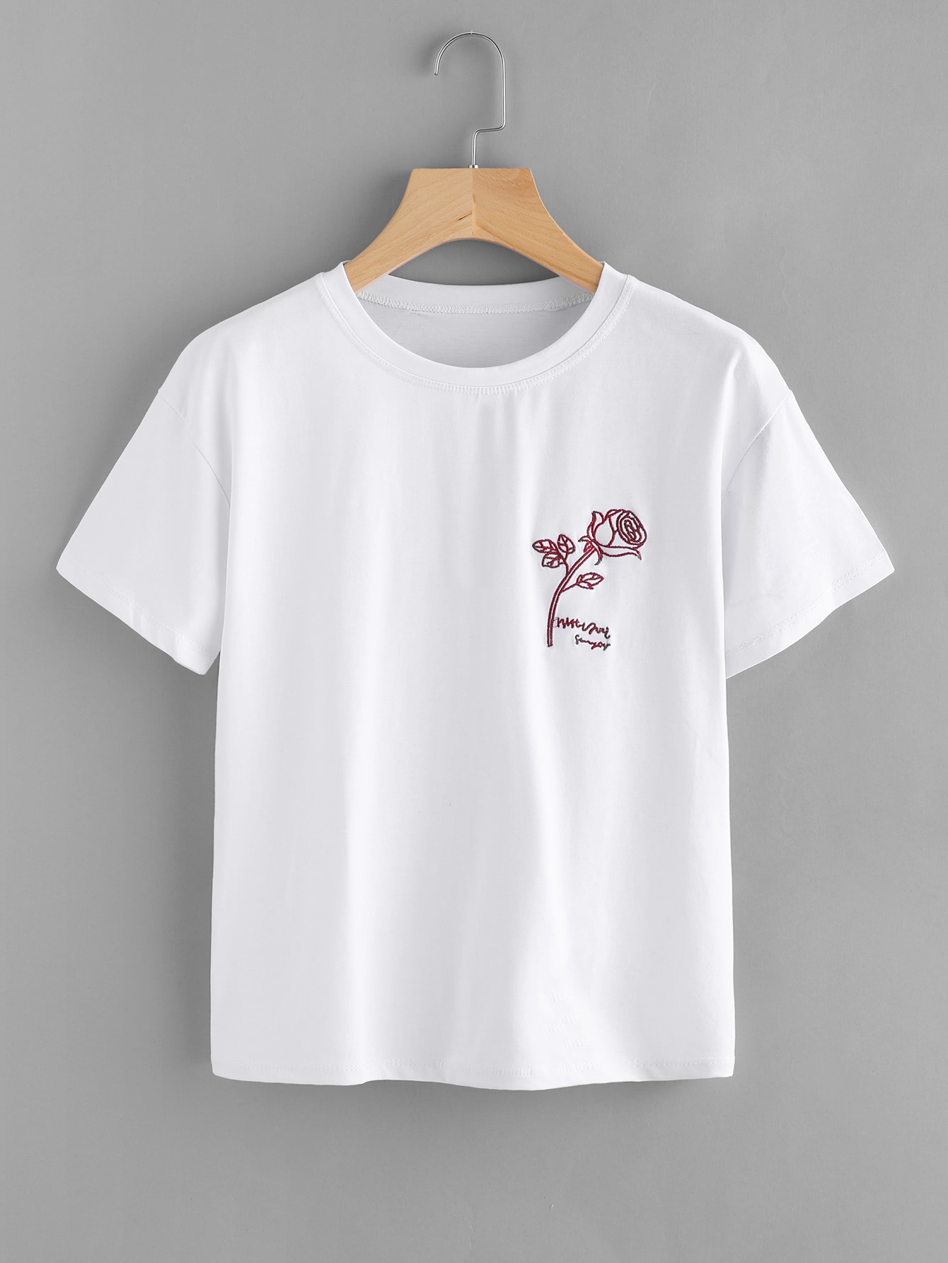 Rose Embroidered Tee rose embroidered ripped long tee