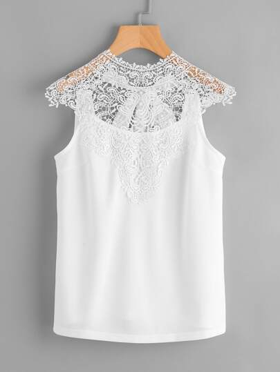 Lace Yoke Bow Tie Open Back Top