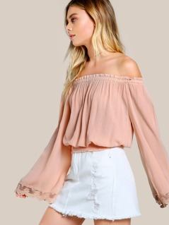 Lace Hem Off Shoulder Top ORANGE