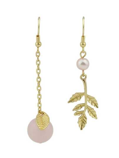 Pink Color Gem Leaves Asymmetric Earrings