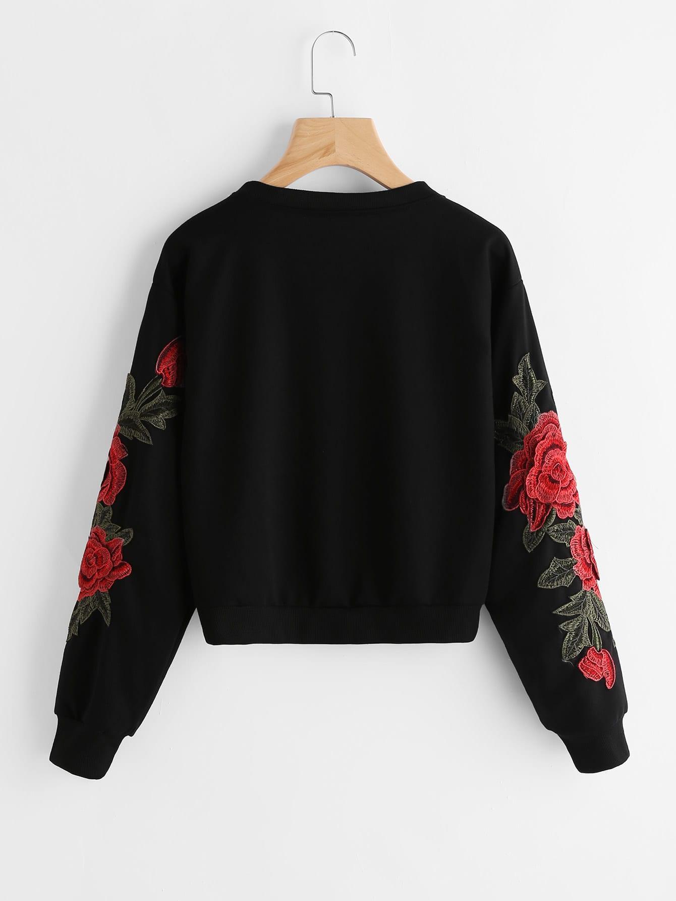 Rose embroidered applique sweatshirt shein sheinside