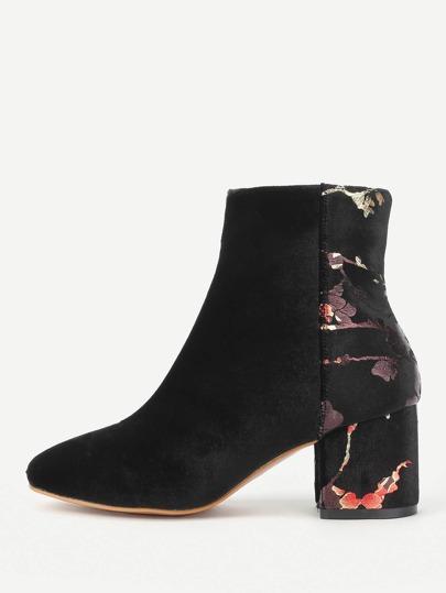 Flower Pattern Detail Velvet Ankle Boots