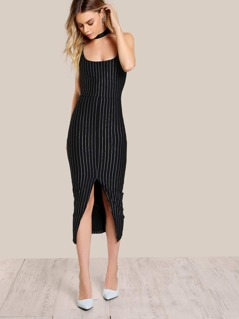 Sleeveless Pinstripe Bodycon Dress BLACK