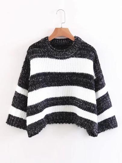 Suéter de hombros caídos de rayas de color combinado