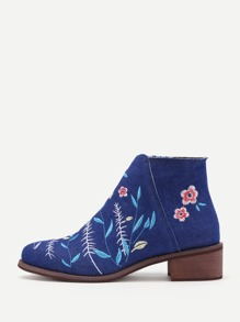 Flower Embroidery Denim Block Heeled Ankle Boots