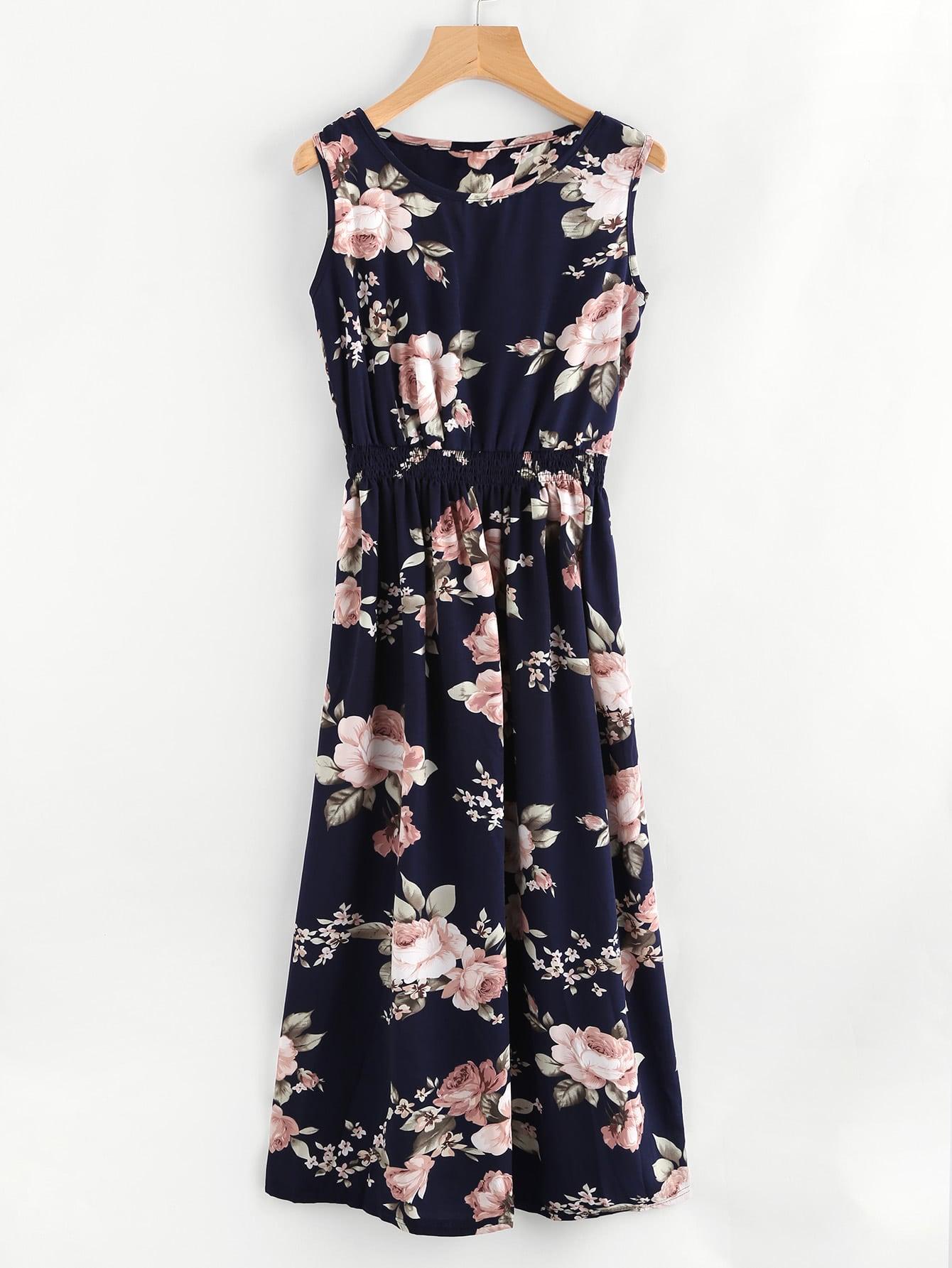 All Over Florals Elastic Waist Dress all over florals dip hem shirt