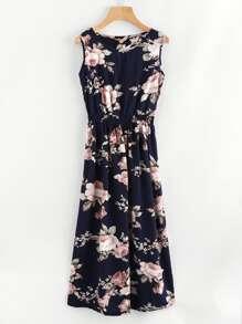 All Over Florals Elastic Waist Dress