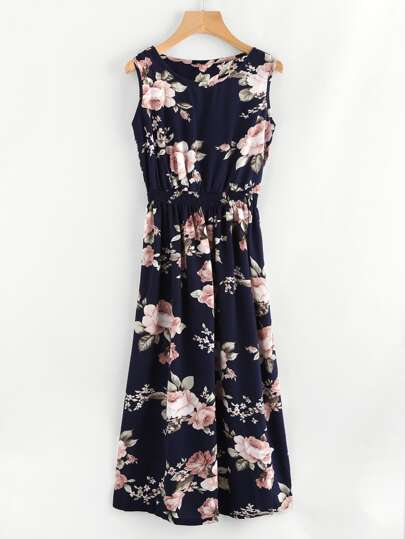 All Over Florals Elastic Waist Dress
