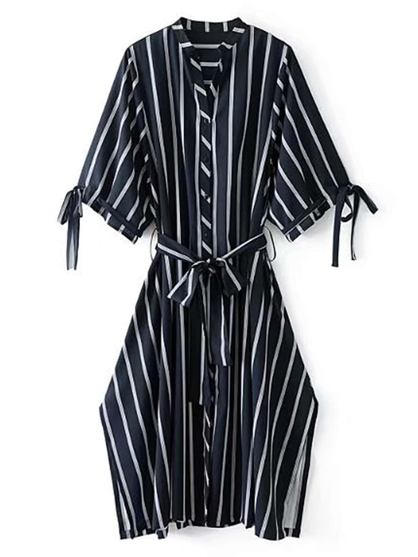 Side Slit Self Tie Striped Dress dress170828204