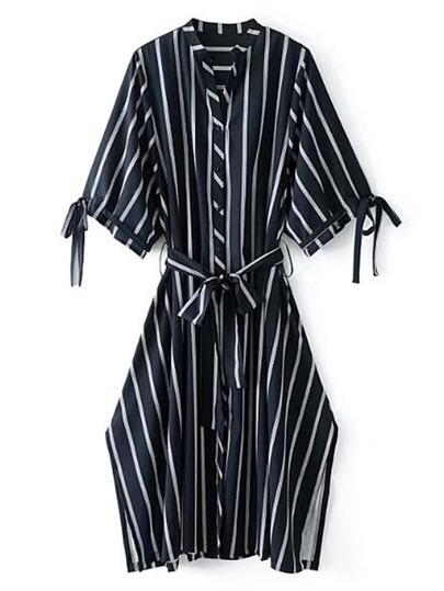 Side Slit Self Tie Striped Dress