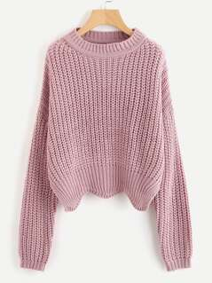 Solid Scallop Hem Sweater