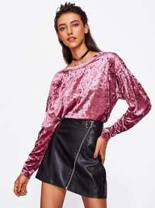 Drop Shoulder Crushed Velvet Sweatshirt