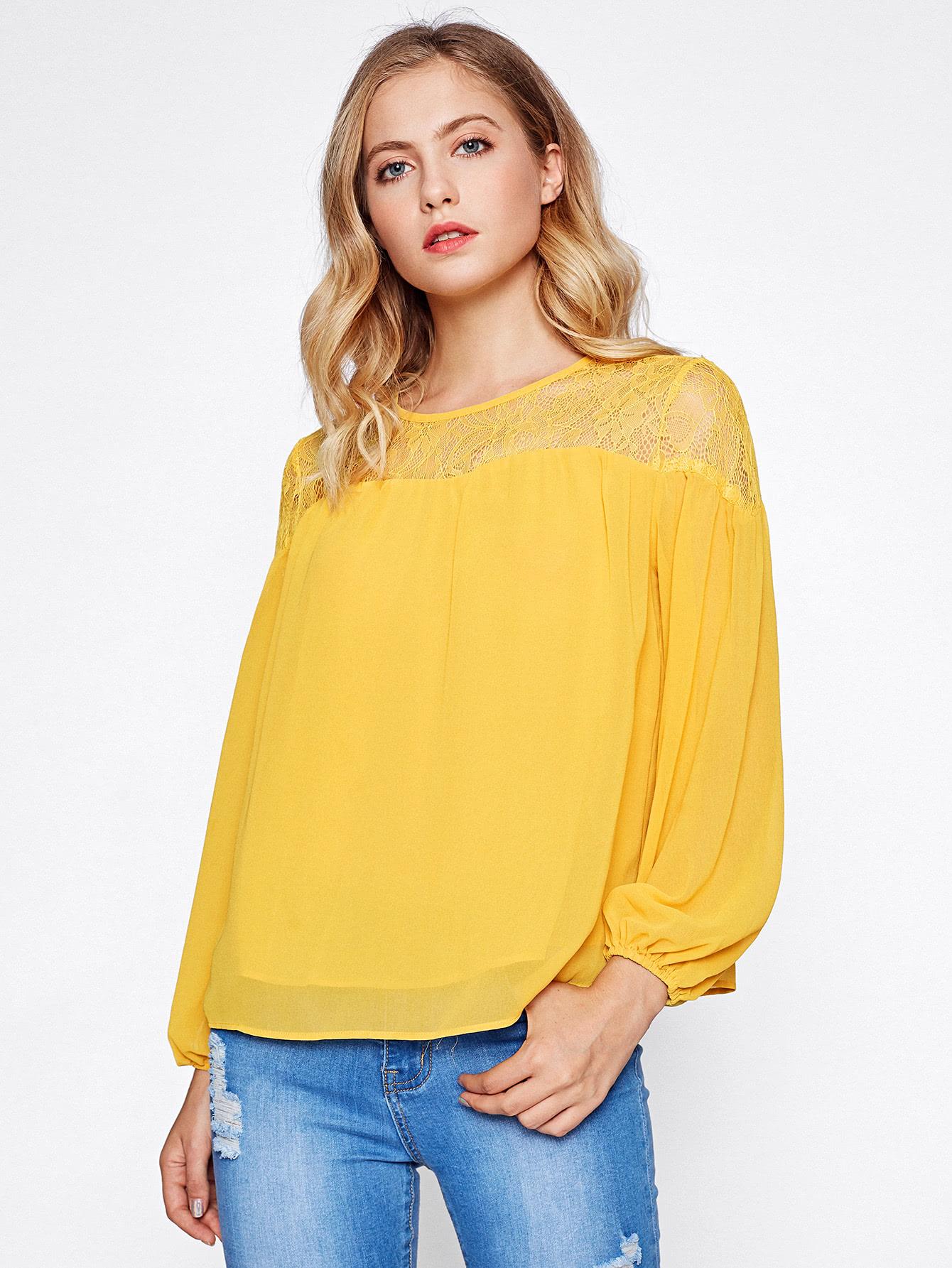 Lace Shoulder Buttoned Keyhole Lantern Sleeve Top blouse170704705