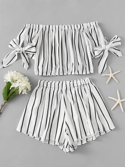 Bardot Striped Bow Tie Sleeve Crop Top With Shorts