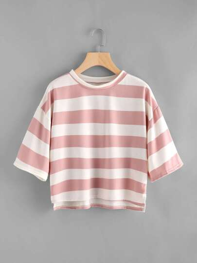 Wide Striped Dip Hem Tee