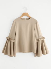Frilled Bow Tie Trumpet Sleeve Top