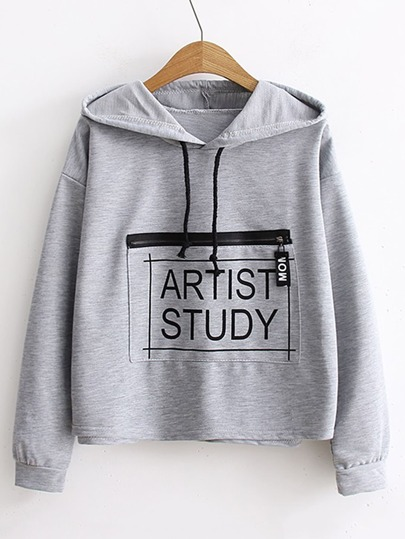 Zipper Pocket Drawstring Hooded Sweatshirt