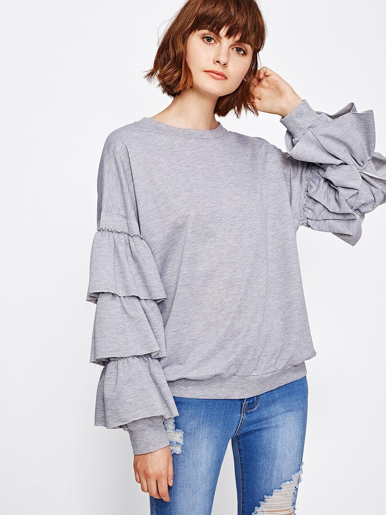 Tiered Frill Sleeve Marled Sweatshirt frill sleeve tape detail sweatshirt