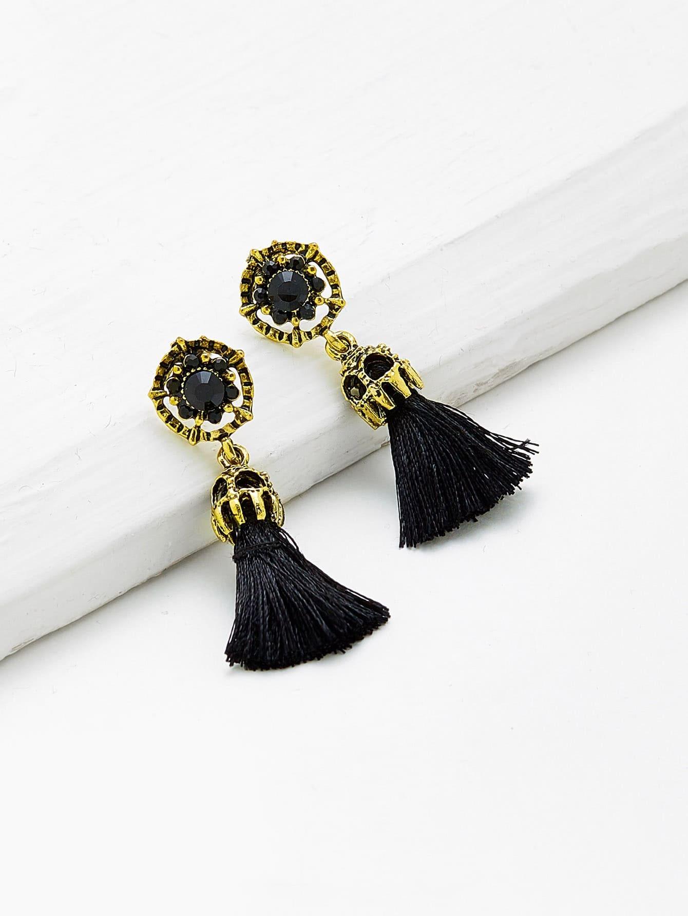 Retro Tassel Drop Earrings silver plated strip tassel drop earrings
