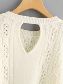Cutout Back Cable Knit Jumper pictures