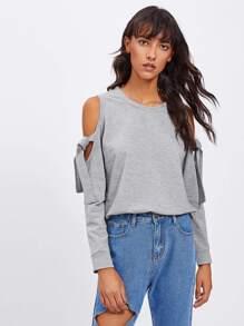 Open Shoulder Tie Detail Marled Sweatshirt