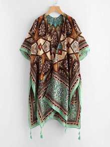 Kimono con estampado y abertura lateral con borla en el bajo