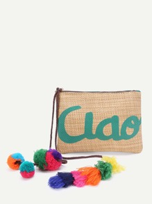 Tassel & Pom Pom Decorated Straw Clutch Bag