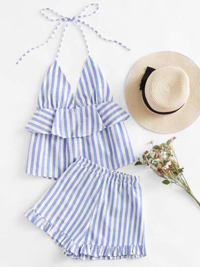 Striped Frill Layered Halter Top And Shorts Set
