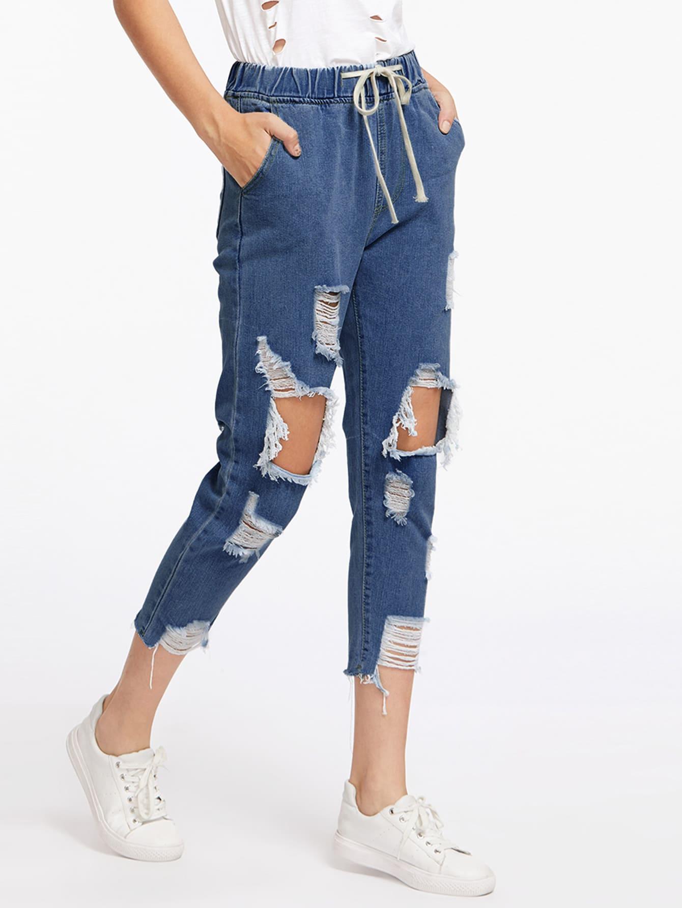 Extreme Destroyed Raw Hem Drawstring Waist Crop Jeans thumbnail
