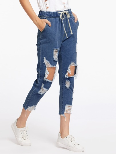 Extreme Destroyed Raw Hem Drawstring Waist Crop Jeans